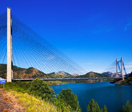 Bridge over reservoir of Barrios de Luna Stock Image