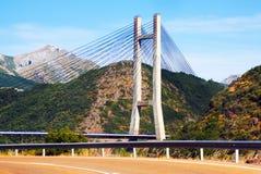 Bridge over reservoir of Barrios de Luna Royalty Free Stock Photography