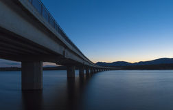 Bridge over a reservoir Royalty Free Stock Images