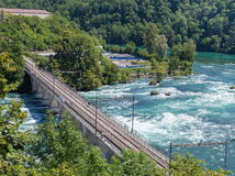 Bridge over the Rhine river at Rhine Falls. Royalty Free Stock Photography
