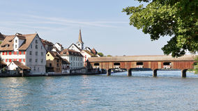 Bridge over the Rhine in Switzerland. Wooden covered Bridge over the Rhine river at Diessenhofen, Switzerland Royalty Free Stock Image