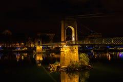 Bridge over Rhone river in Lyon, France at night Stock Photos
