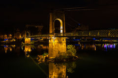 Bridge over Rhone river in Lyon, France at night Stock Photography