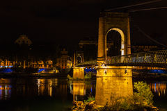Bridge over Rhone river in Lyon, France at night Stock Images