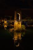 Bridge over Rhone river in Lyon, France at night Stock Image