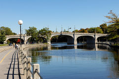 Bridge over the Rideau canal. Royalty Free Stock Images