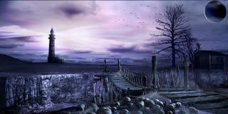 Bridge over the rift. Dark scene with old rope bridge, lighthouse and skulls Stock Photography