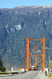 Bridge over the Rio Aysen. Historic bridge in Chilean Patagonia became a symbol of the conflicts of the inhabitants of aysen and the government of Chile stock image