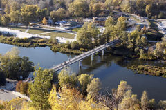The bridge over the river. Donets in Sviatogorsk, Donetsk region, Ukraine Royalty Free Stock Images