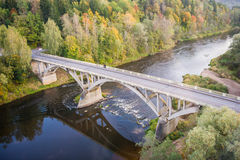 Bridge over a river. Road bridge spanning over a river in Latvia Royalty Free Stock Photos