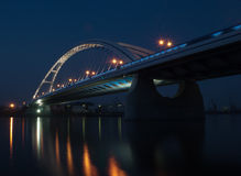 Bridge over the river. At night Royalty Free Stock Images