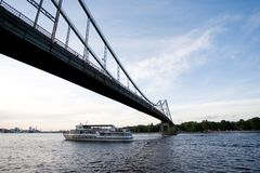 Bridge over river. Dnieper in Kiev royalty free stock photography