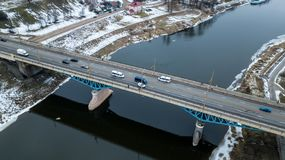 Bridge over the river aerial photography in winter stock photo