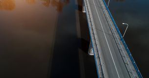 Bridge over the river aerial view from above drone royalty free stock photography