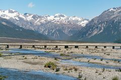 Bridge over the river Arthurs Pass national park. South Island New Zealand natural landscape Stock Image
