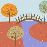 bridge over the river autumn. Element of colored autumn illustration for mobile concept and web apps. Detailed bridge over the riv vector illustration