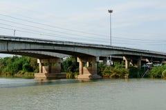 Bridge over the river for cars to cross. Bridge over the river for cars to cross royalty free stock photo