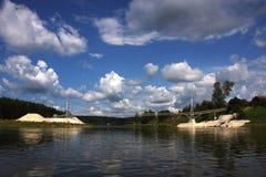Bridge over the river Chusovaya. In the Perm region Stock Photos