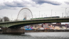 Bridge over the river in Cologne. Overlooking the amusement park stock video footage