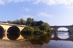 Bridge over river Dordogne Limeuil Stock Images