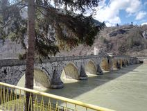 Bridge over river Drina, Bosnia and Herzegovina royalty free stock photography