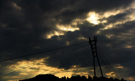 Bridge over river Dunajec. In mountains Pieniny Royalty Free Stock Image