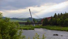 Bridge over river Dunajec. In mountains Pieniny Royalty Free Stock Photo