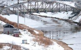 Bridge over a river in Dutch Harbor Stock Image