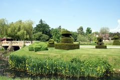 Bridge over River Eden. Hever castle's garden in Kent, England Stock Photography