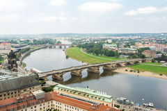 Bridge over River Elbe in Dresden Royalty Free Stock Photo