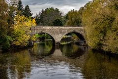 Bridge Over the River in Fall, Stratford Ontario stock photography