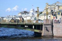 Bridge over the river Fontanka Stock Images