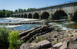 Bridge over river. A bridge over a french river, with a sunny weather Stock Images