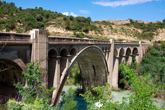 Bridge over River Gallego. The autonomous region Aragon, Spain. Royalty Free Stock Images