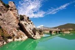 Bridge over River Gallego, province Aragon, Spain.Reservoir Rena Stock Photos