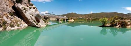 Bridge over River Gallego, province Aragon, Spain.Reservoir Rena Royalty Free Stock Images