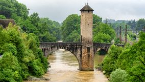 Bridge over river Gave de Pau in Orthez - France. A bridge over river Gave de Pau in Orthez - France royalty free stock photo