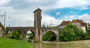 Bridge over river Gave de Pau in Orthez - France. A bridge over river Gave de Pau in Orthez - France royalty free stock image