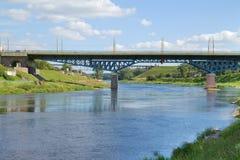 Bridge over river, Grodno, Belarus Royalty Free Stock Image