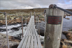 The Bridge over a river, Hardangervidda, Norway. Hardangervidda in summer time, the bridge over the riverr (Norway Royalty Free Stock Photography