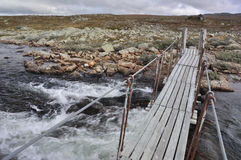 The Bridge over a river, Hardangervidda, Norway Royalty Free Stock Photos