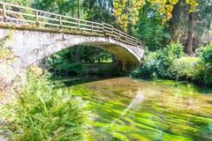 Bridge over river Kamenice in Bohemian Switzerland National Park, Czech Republic.  royalty free stock images
