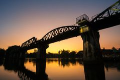 Bridge over the river Kwai in Kanchanaburi Stock Photo