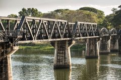 Bridge over the river Kwai in Kanchanaburi Stock Photo