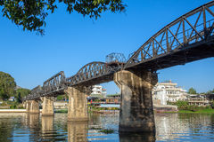 Bridge over the river Kwai in Kanchanaburi. Thailand Royalty Free Stock Photography