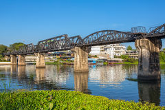 Bridge over the river Kwai in Kanchanaburi Royalty Free Stock Image
