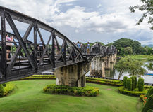 The Bridge Over the River Kwai in Kanchanaburi, Thailand. Death railway built during World War II. Photo taken on August 27, 2014 Stock Image