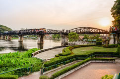 Bridge over the River Kwai at sunset. Trains for travel running on the old bridge over the River Kwai Yai at sunset is a historical attractions, Kanchanaburi Stock Images