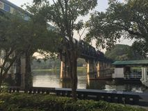 Bridge over river kwai, thailand. In early morning Stock Images