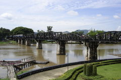 Bridge. Over the River Kwai in Thailand that the prisoners of World War II soldiers built with many lives lost Royalty Free Stock Photography